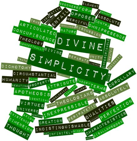 informs: Abstract word cloud for Divine simplicity with related tags and terms