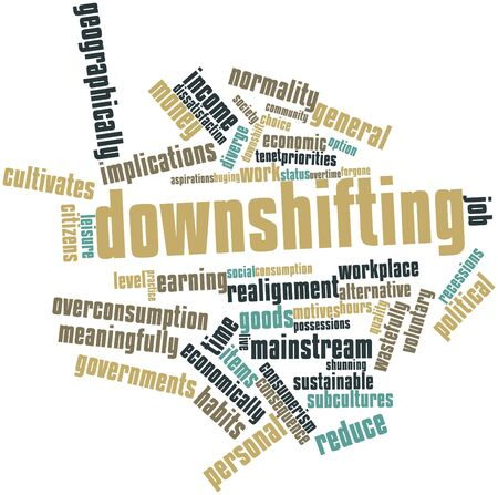 inconspicuous: Word cloud astratto per Downshifting con tag correlati e termini Archivio Fotografico
