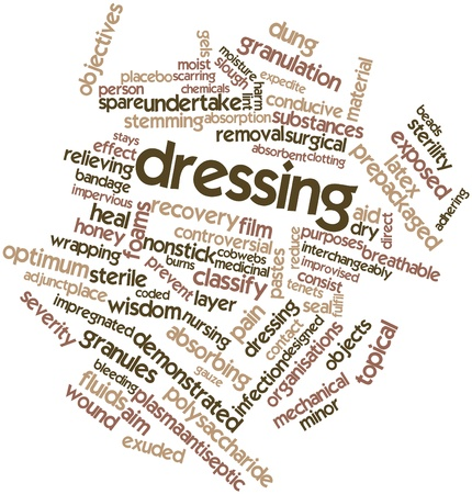 scarring: Abstract word cloud for Dressing with related tags and terms Stock Photo