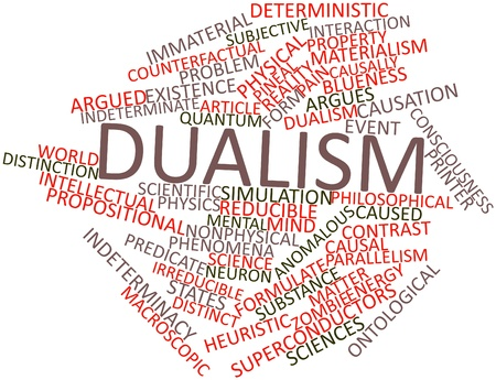 causation: Abstract word cloud for Dualism with related tags and terms Stock Photo