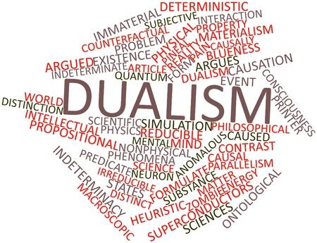 dualism: Nube palabra abstracta para dualismo con etiquetas y t�rminos relacionados