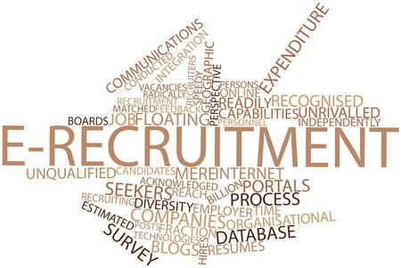 job functions: Abstract word cloud for E-recruitment with related tags and terms