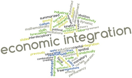mathematically: Abstract word cloud for Economic integration with related tags and terms Stock Photo