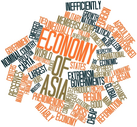 annexed: Abstract word cloud for Economy of Asia with related tags and terms Stock Photo