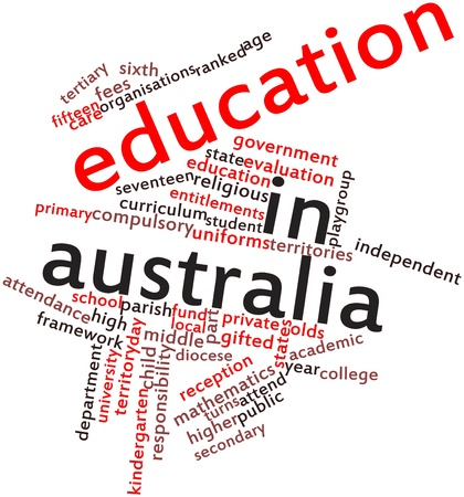 sixth form: Abstract word cloud for Education in Australia with related tags and terms Stock Photo