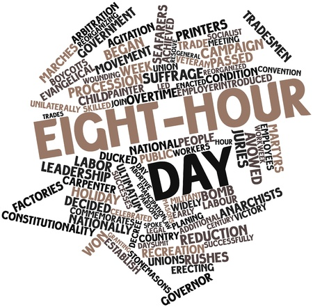 skilled labour: Abstract word cloud for Eight-hour day with related tags and terms