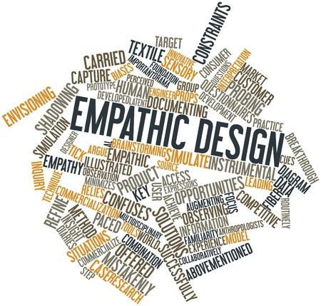 empatia: Nube de palabras abstracto para el diseño empático con las etiquetas y términos relacionados