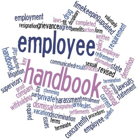 Abstraktes Wort cloud for Employee Handbuch mit verwandte Tags und Begriffe Lizenzfreie Bilder