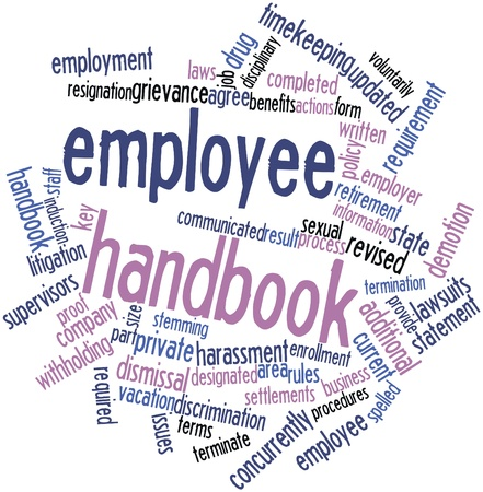 Abstract word cloud for Employee handbook with related tags and terms Archivio Fotografico