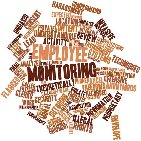 Nuage de mots abstraits pour la surveillance des employés avec des étiquettes et des termes connexes