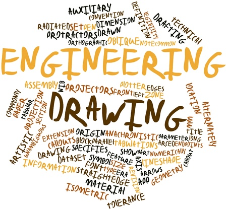anachronistic: Abstract word cloud for Engineering drawing with related tags and terms Stock Photo