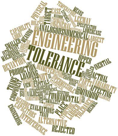 tolerancia: Nube palabra abstracta para la tolerancia Ingeniería con etiquetas y términos relacionados