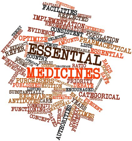 categorical: Abstract word cloud for Essential medicines with related tags and terms