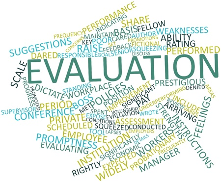 Abstract word cloud for Evaluation with related tags and terms Stock Photo - 17197639