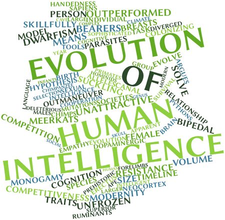 pythons: Abstract word cloud for Evolution of human intelligence with related tags and terms