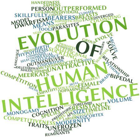 hipótesis: Nube palabra abstracta para la evolución de la inteligencia humana con las etiquetas y términos relacionados Foto de archivo
