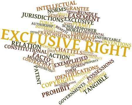 justified: Abstract word cloud for Exclusive right with related tags and terms