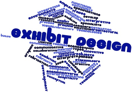 audiovisual: Abstract word cloud for Exhibit design with related tags and terms