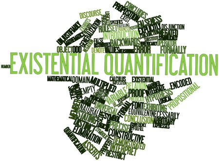 discourse: Abstract word cloud for Existential quantification with related tags and terms