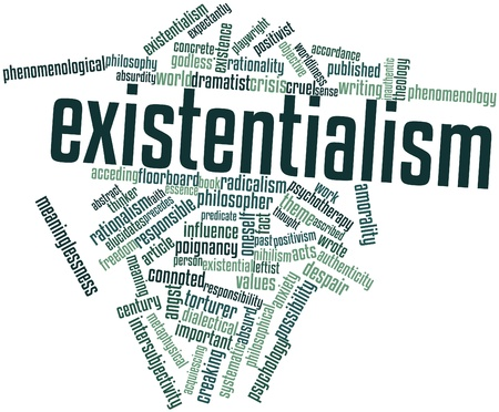 ascribed: Abstract word cloud for Existentialism with related tags and terms Stock Photo