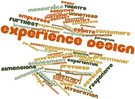 furthest: Abstract word cloud for Experience design with related tags and terms Stock Photo