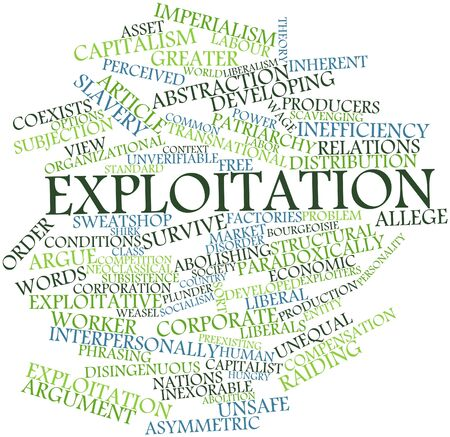 Abstract word cloud for Exploitation with related tags and terms Stock Photo
