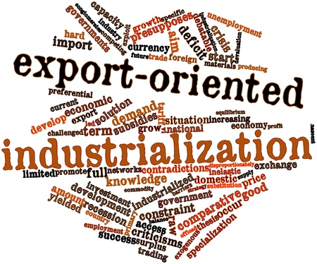 nascent: Abstract word cloud for Export-oriented industrialization with related tags and terms Stock Photo
