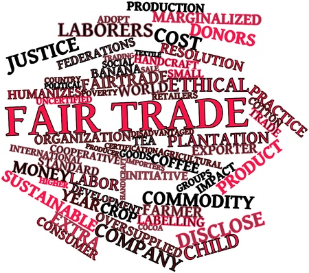 activists: Abstract word cloud for Fair trade with related tags and terms