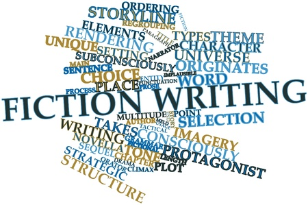 narrator: Abstract word cloud for Fiction writing with related tags and terms
