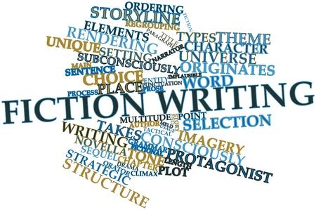 Résumé nuage de mots pour l'écriture de fiction avec des étiquettes et des termes connexes Banque d'images