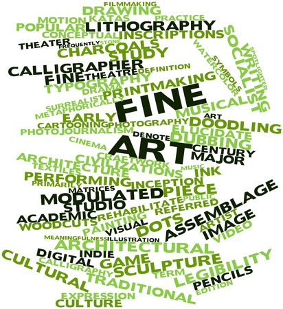 assemblage: Abstract word cloud for Fine art with related tags and terms Stock Photo