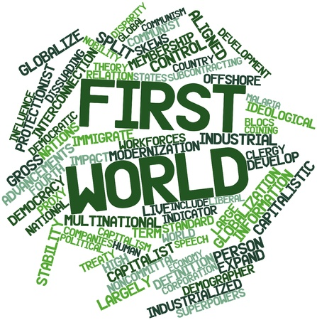immigrate: Abstract word cloud for First World with related tags and terms