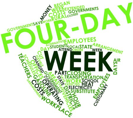 rural area: Abstract word cloud for Four-day week with related tags and terms Stock Photo