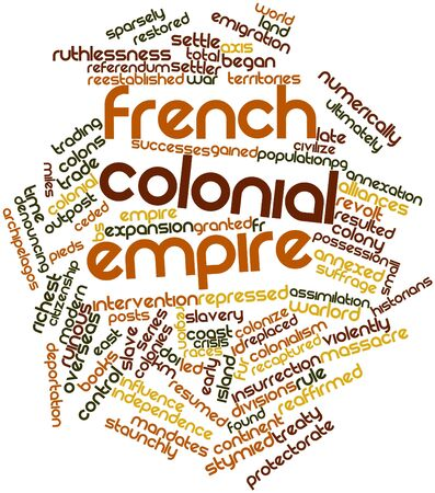 annexed: Abstract word cloud for French colonial empire with related tags and terms Stock Photo