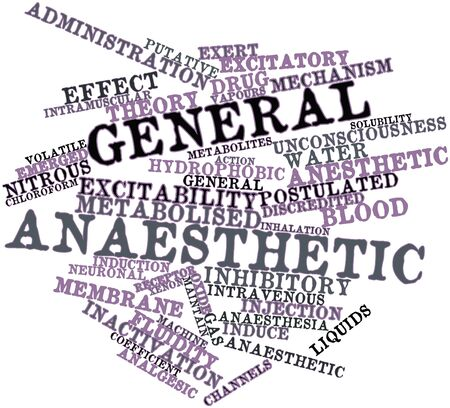 potency: Abstract word cloud for General anaesthetic with related tags and terms Stock Photo