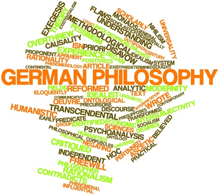 Abstract word cloud for German philosophy with related tags and terms Stock Photo