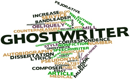 collaborators: Word cloud astratto per Ghostwriter con tag correlati e termini