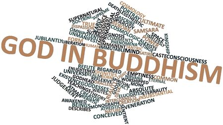 worshipped: Abstract word cloud for God in Buddhism with related tags and terms