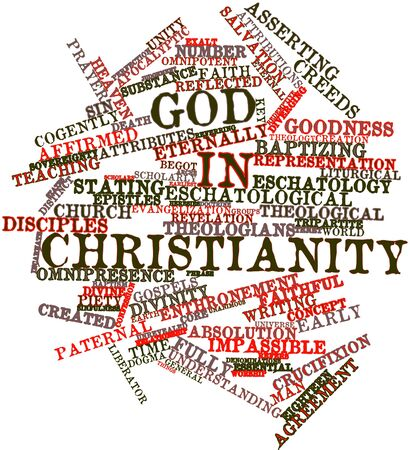 piety: Abstract word cloud for God in Christianity with related tags and terms
