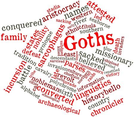 incursion: Nuage de mot abstrait pour Goths avec des �tiquettes et des termes connexes Banque d'images