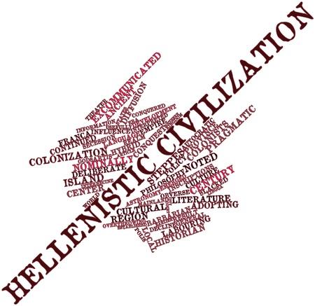 retained: Nube palabra abstracta para la civilización helenística con las etiquetas y términos relacionados