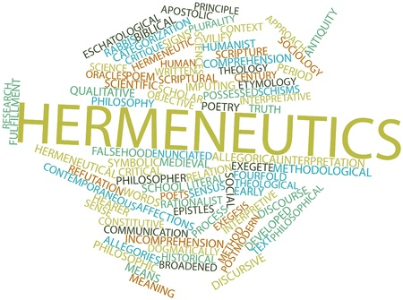 categorization: Abstract word cloud for Hermeneutics with related tags and terms Stock Photo