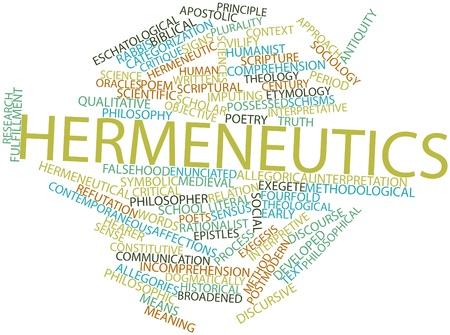 contemporaneous: Word cloud astratto per ermeneutica con tag correlati e termini Archivio Fotografico