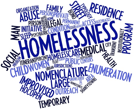 gaol: Abstract word cloud for Homelessness with related tags and terms