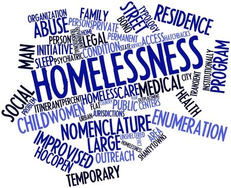 servicios publicos: Nube palabra abstracta para personas sin hogar con las etiquetas y términos relacionados Foto de archivo