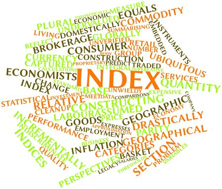 inflation basket: Abstract word cloud for Index with related tags and terms Stock Photo