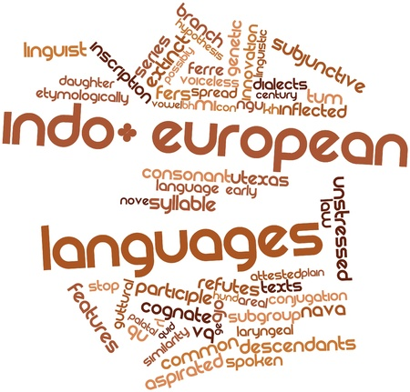 cognate: Abstract word cloud for Indo-European languages with related tags and terms Stock Photo