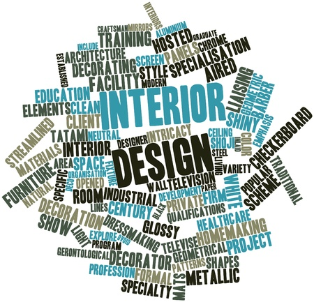 speciality: Abstract word cloud for Interior design with related tags and terms