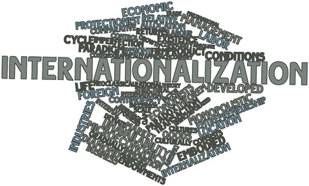 Abstract word cloud for Internationalization with related tags and terms Stock Photo