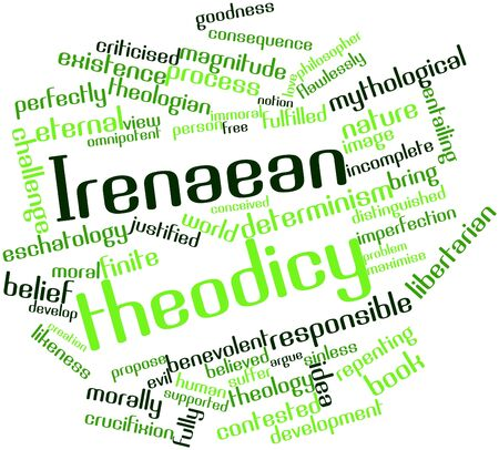 theology: Abstract word cloud for Irenaean theodicy with related tags and terms Stock Photo